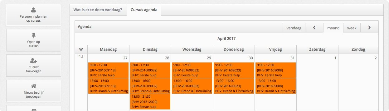 Cursusadministratie 101BHV.nl